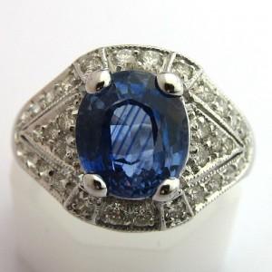 Bague ancienne en saphir diamants or et platine