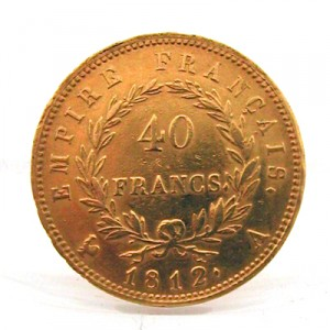 Napoléon or de 40 francs lauré revers